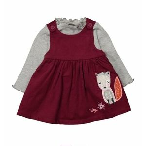 🦊HP Wine Fox Corduroy Dress & Long Sleeve Set